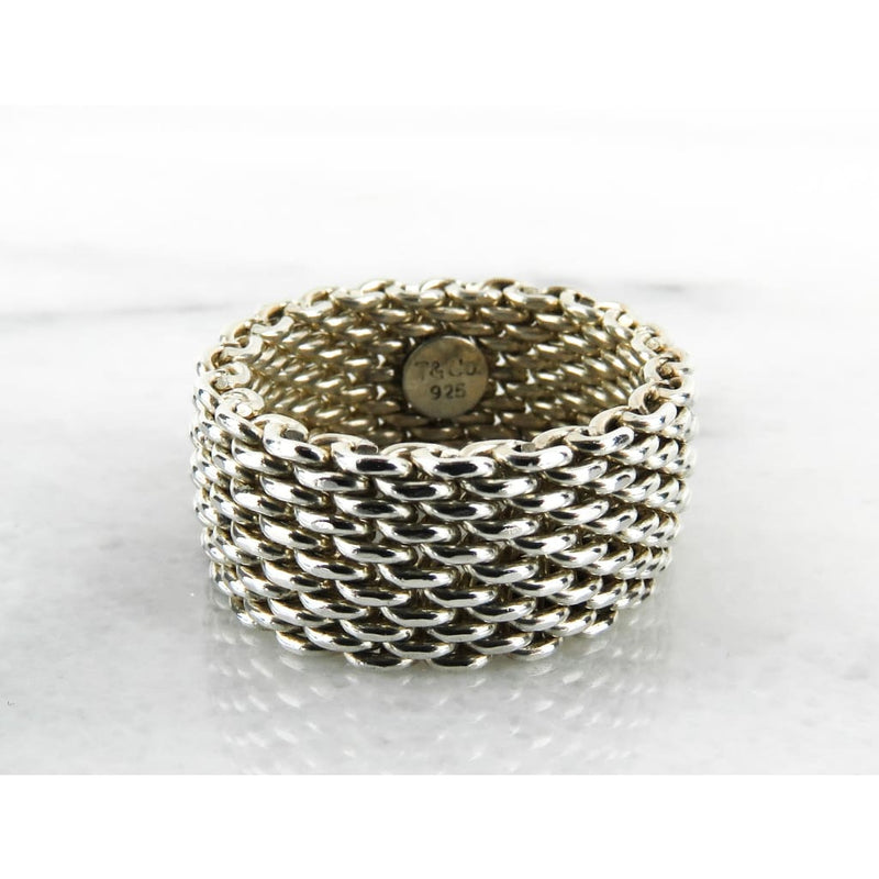 Tiffany & Co Sterling Silver Somerset Wide Mesh Ring - Ring