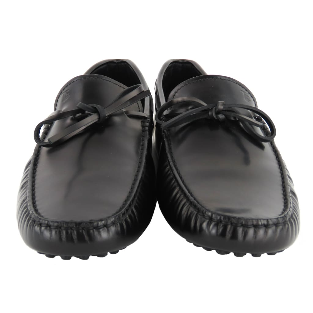 Tods Black Leather Mens City Gommino Driving Loafer Flats - Loafers