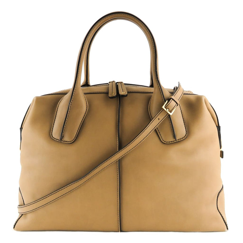 Tods Tan Leather D-Styling Bauletto Satchel Bag - Satchels