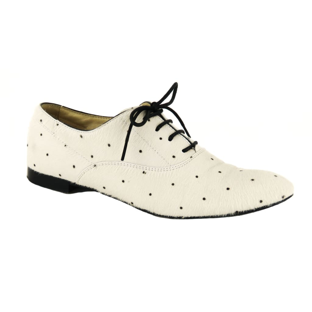 Tods White and Black Pony Hair Doted Lace Up Oxford Flats - Sneakers
