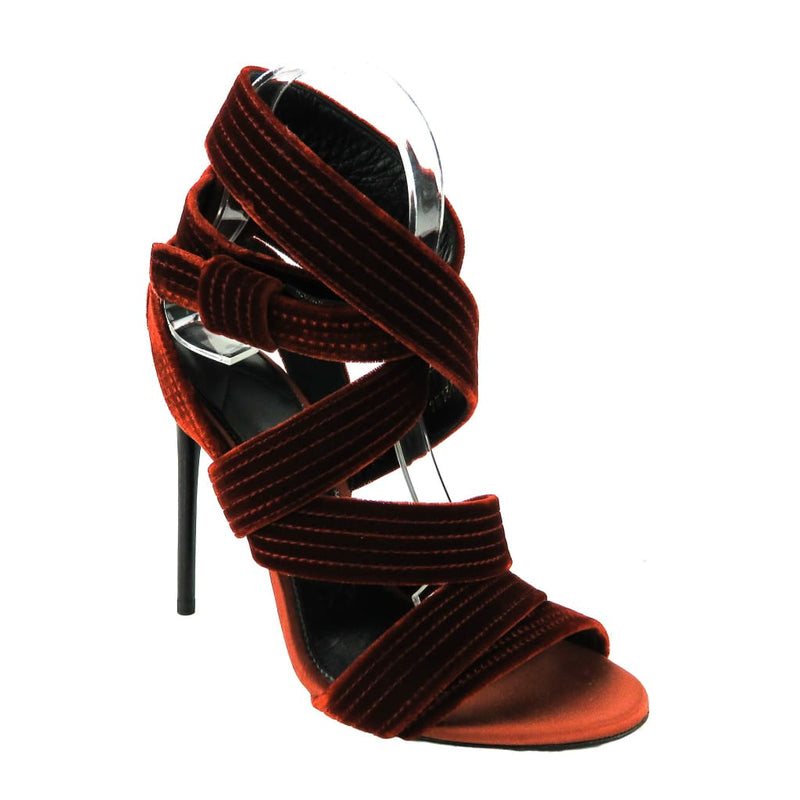 Tom Ford Red Velvet Open Toe Strappy Heels - Heels