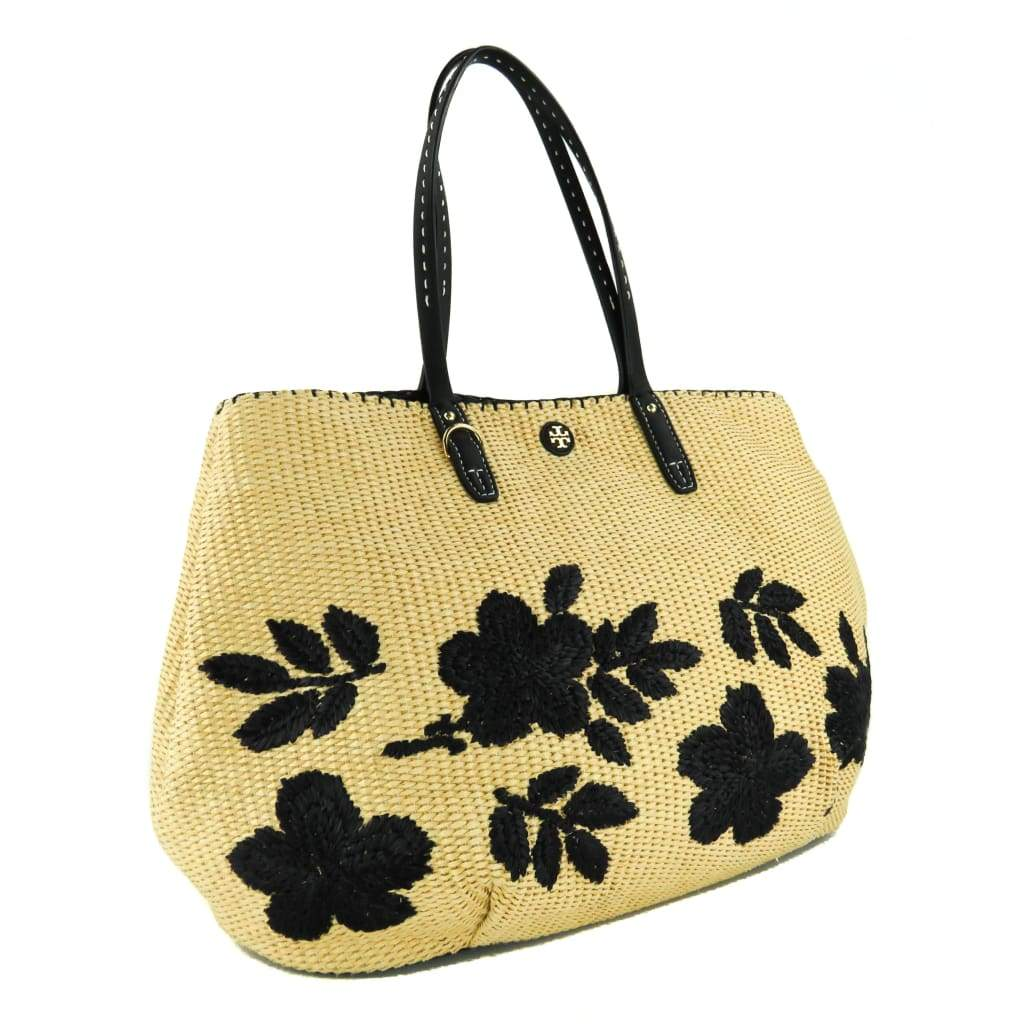 Tory Burch Beige and Navy Blue Straw Kerrington Square Floral Tote Bag - Totes