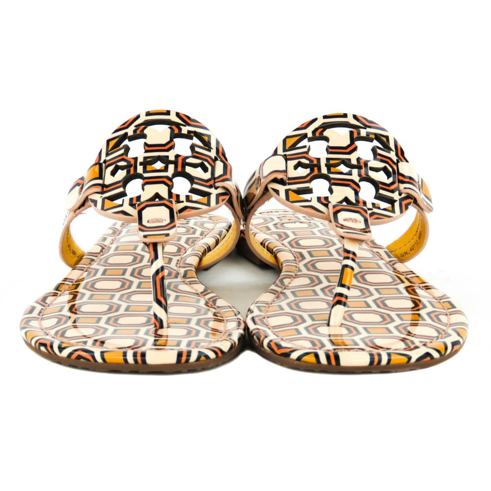 7966cddda4e9 Tory Burch Beige and Orange Patent Leather Octagon Square Miller Sandals