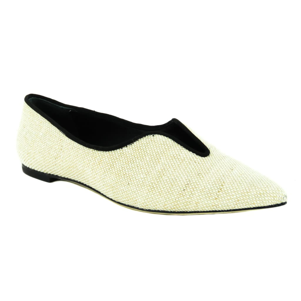 Tory Burch Beige Canvas Natural Lucia Oxford Pointed Toe Flats - Flats