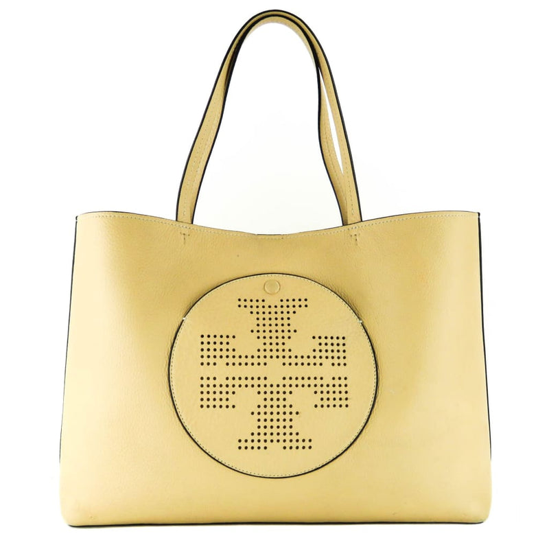 Tory Burch Beige Leather Perforated Logo Tote Bag - Totes