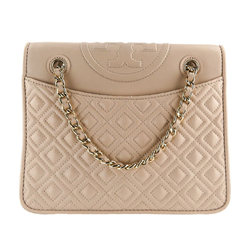 Tory Burch Beige Quilted Leather Medium Fleming Chain Shoulder Bag - Crossbodies
