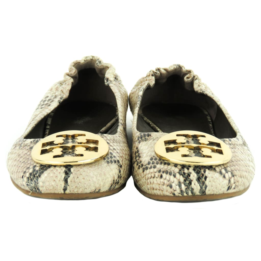 Tory Burch Beige Snake Embossed Leather Roccia Reva Ballet Flats - Flats