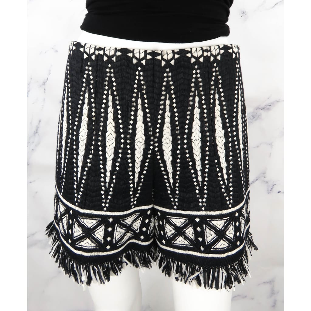 Tory Burch Black and Ivory Tweed Sovora Fringe Size 2 Shorts - Shorts