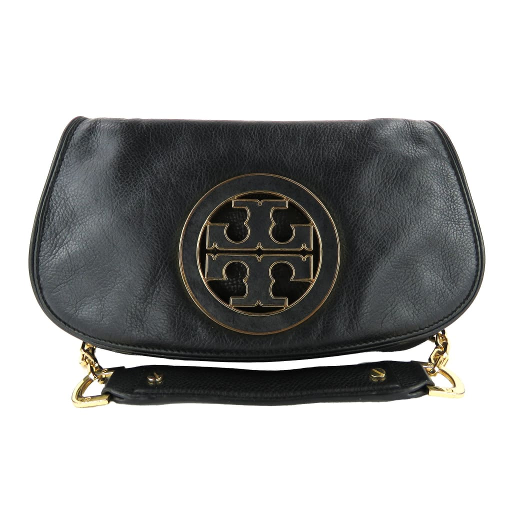 Tory Burch Black Leather Amanda Logo Clutch Crossbody Bag - Clutches