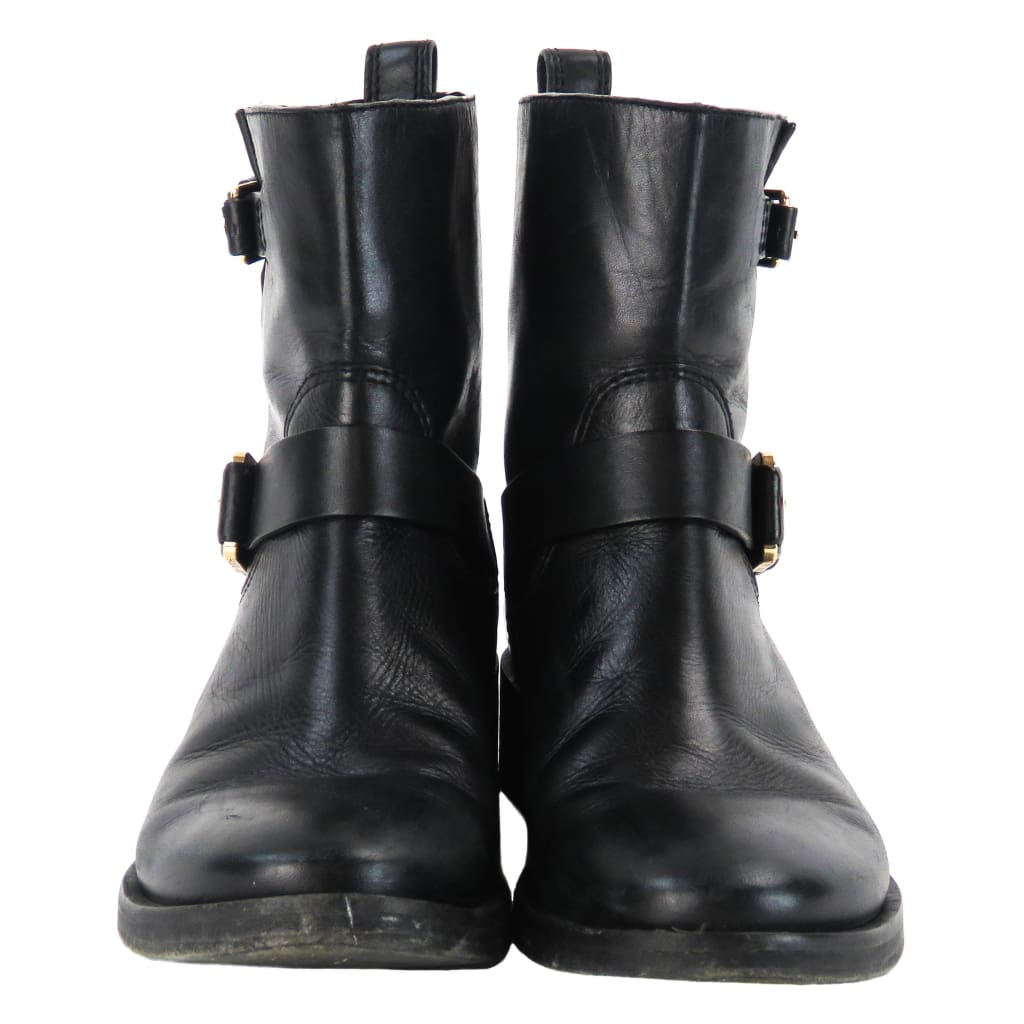 Tory Burch Black Leather Bennie Buckled Short Moto Boots - Boots/rain Boots