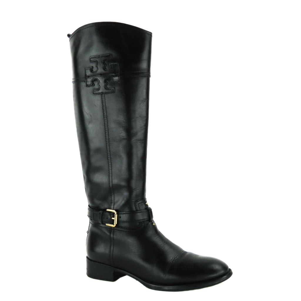 Tory Burch Black Leather Blaire Riding Boots - Boots/Rain Boots