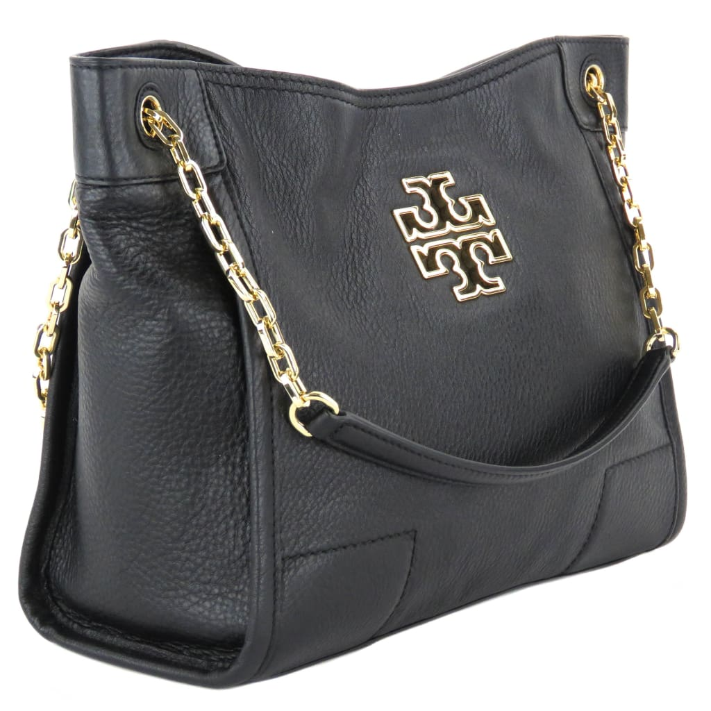 Tory Burch Black Leather Britten Small Slouchy Tote Bag - Totes