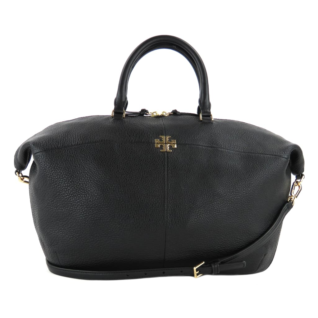 Tory Burch Black Leather Ivy Slouchy Satchel Bag - Satchels
