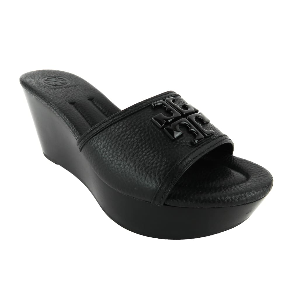 Tory Burch Black Leather Lowell 2 Slide Wedges - Sandals