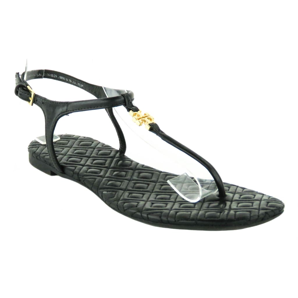 Tory Burch Black Leather Marion Quilted Sandals - Sandals