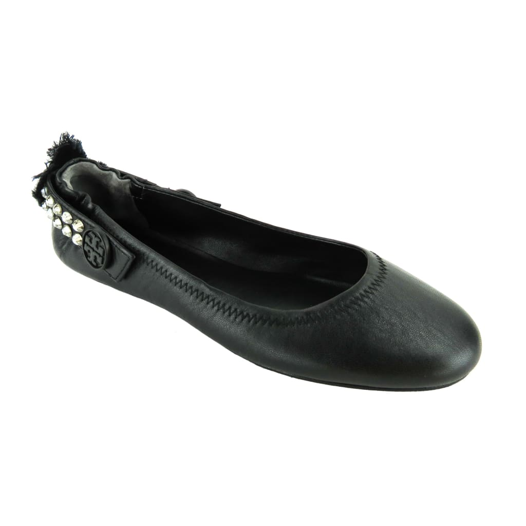 Tory Burch Black Leather Minnie Embellished Ballet Flats - Flats