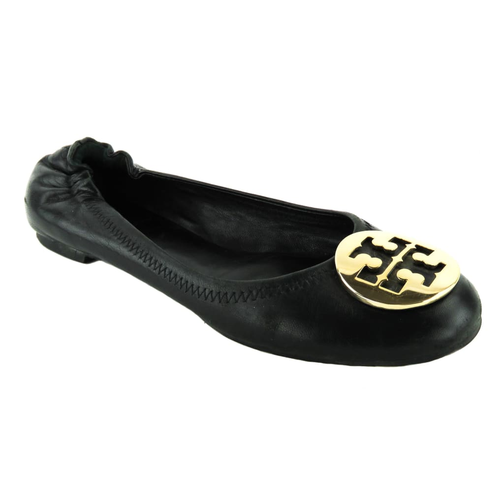 Tory Burch Black Leather Minnie Travel Ballet Flats - Flats