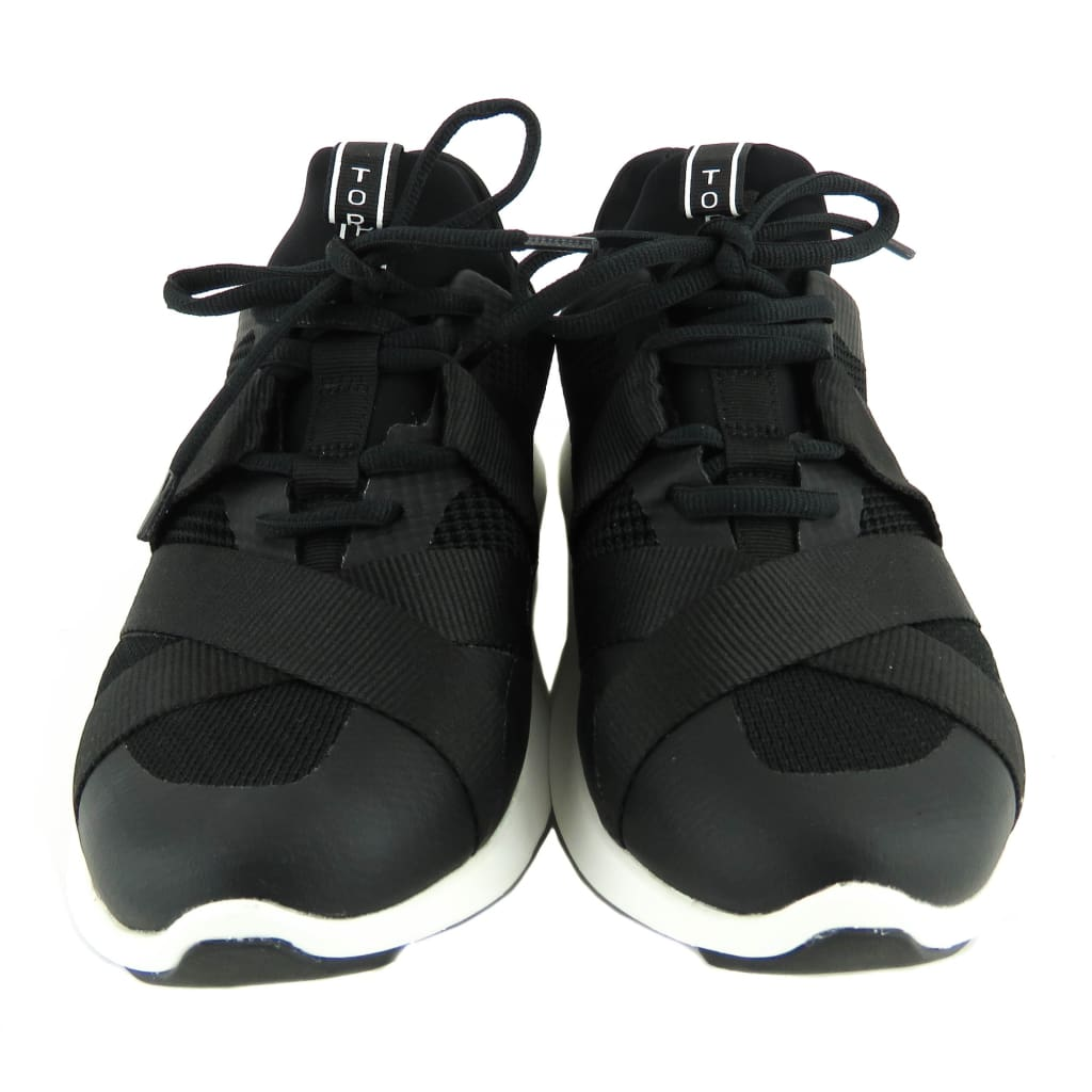 Tory Burch Black Neoprene Banner Lace Up Runner Sneakers - Sneakers
