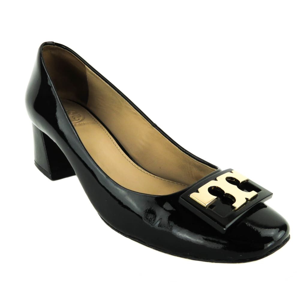 Tory Burch Black Patent Leather Gigi Block Heel Pumps - Heels