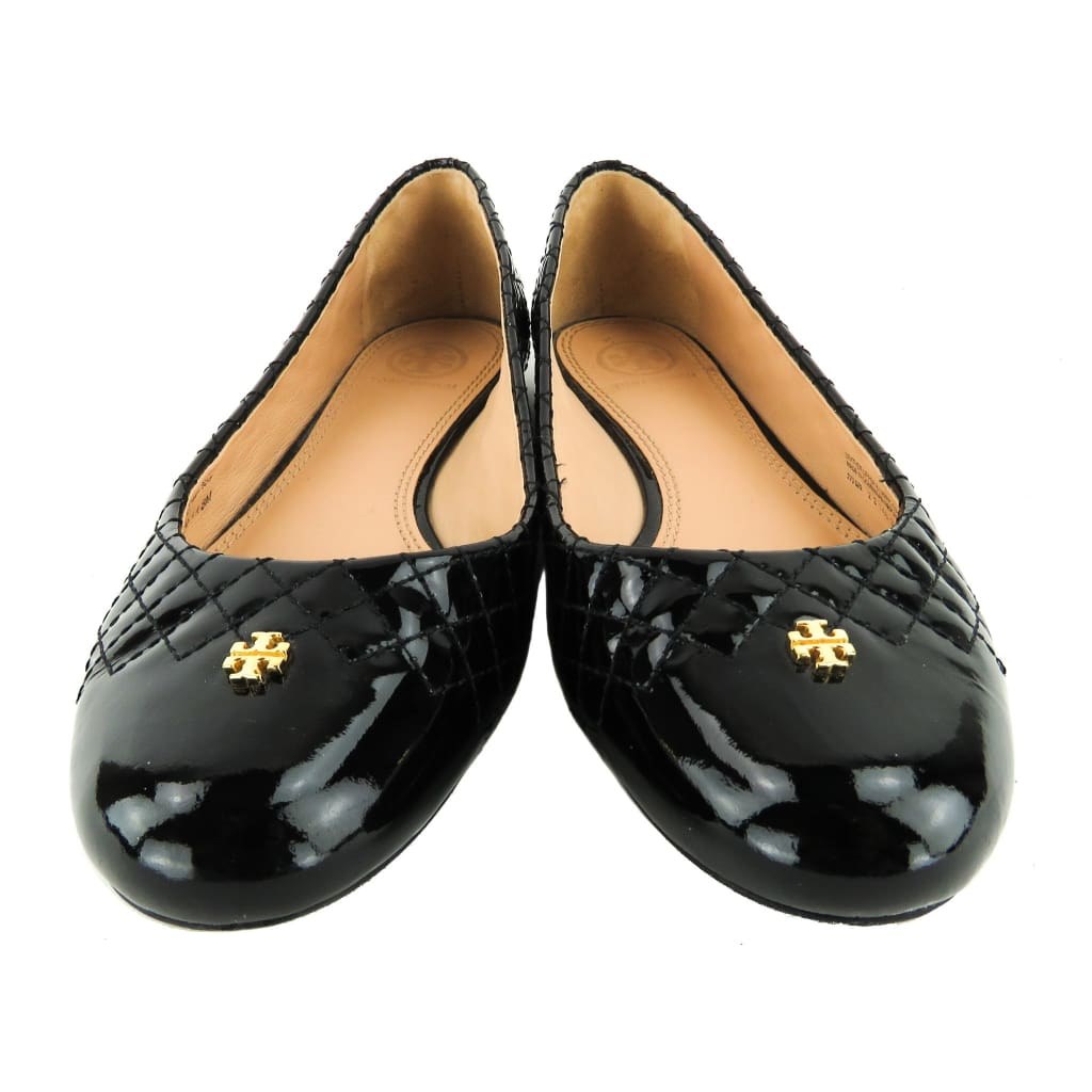 Tory Burch Black Patent Leather Quilted Kent Flats - Flats