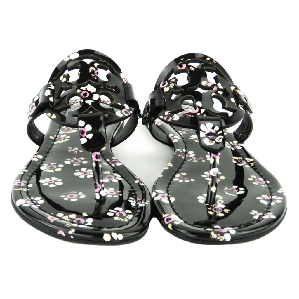 Tory Burch Black Patent Leather Stamped Floral Miller Thong Sandals - Sandals