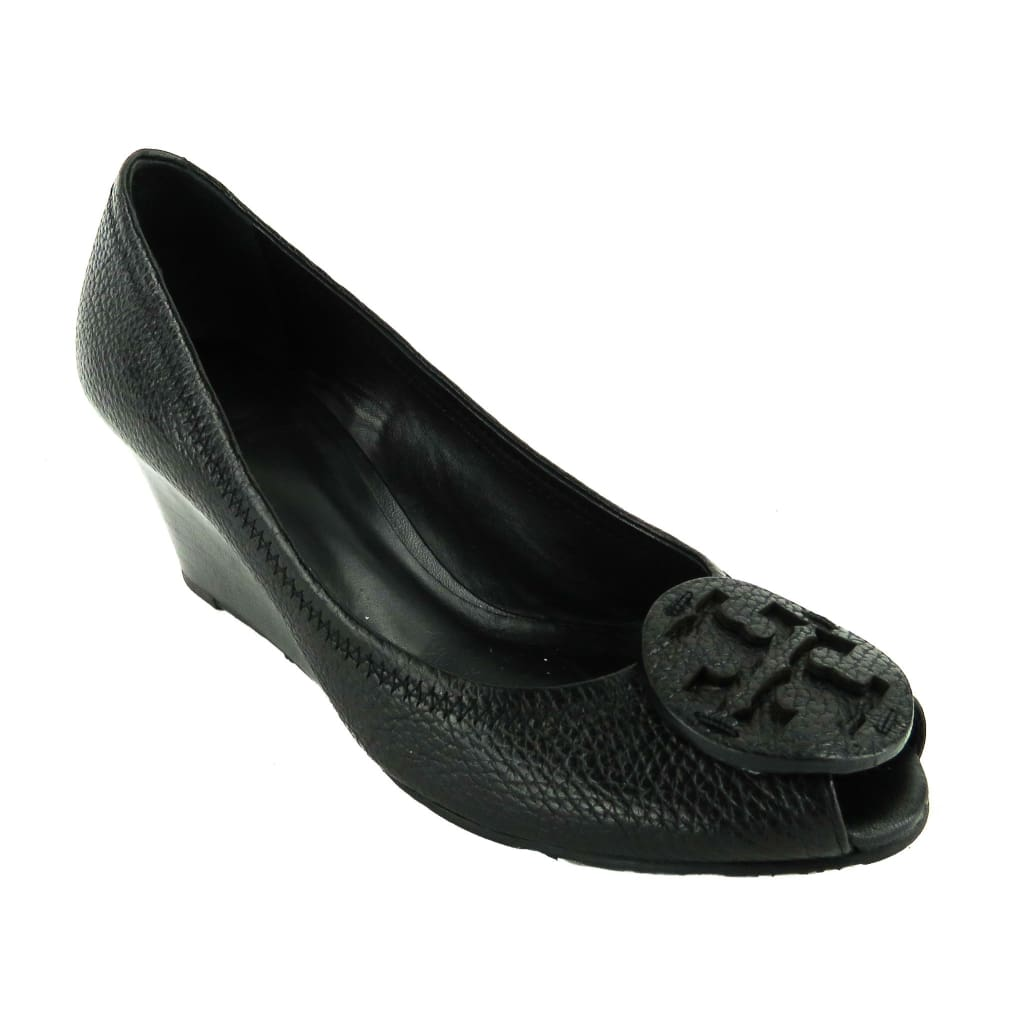 Tory Burch Black Pebbled Leather Sally Peep Toe Wedges - Wedges