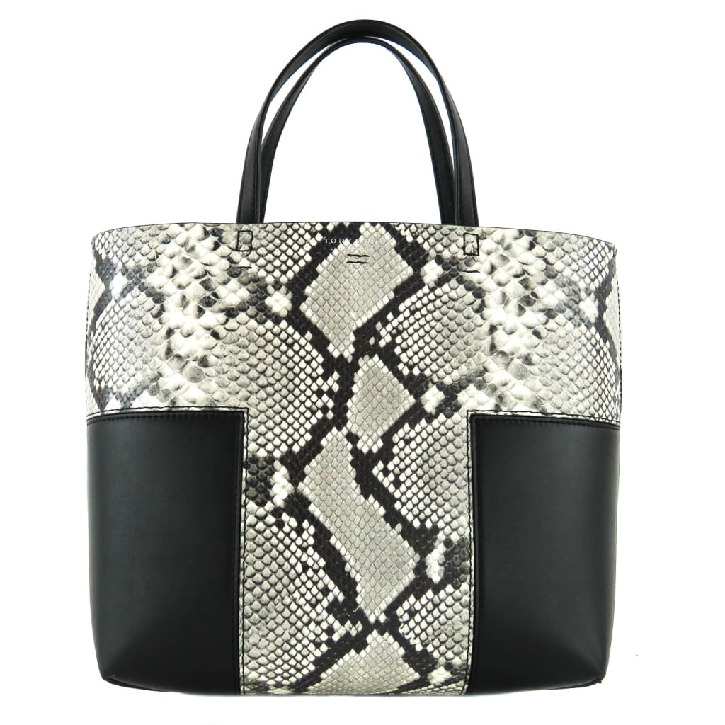 Tory Burch Black Snake Embossed Leather Block T Mini Tote Bag - Totes