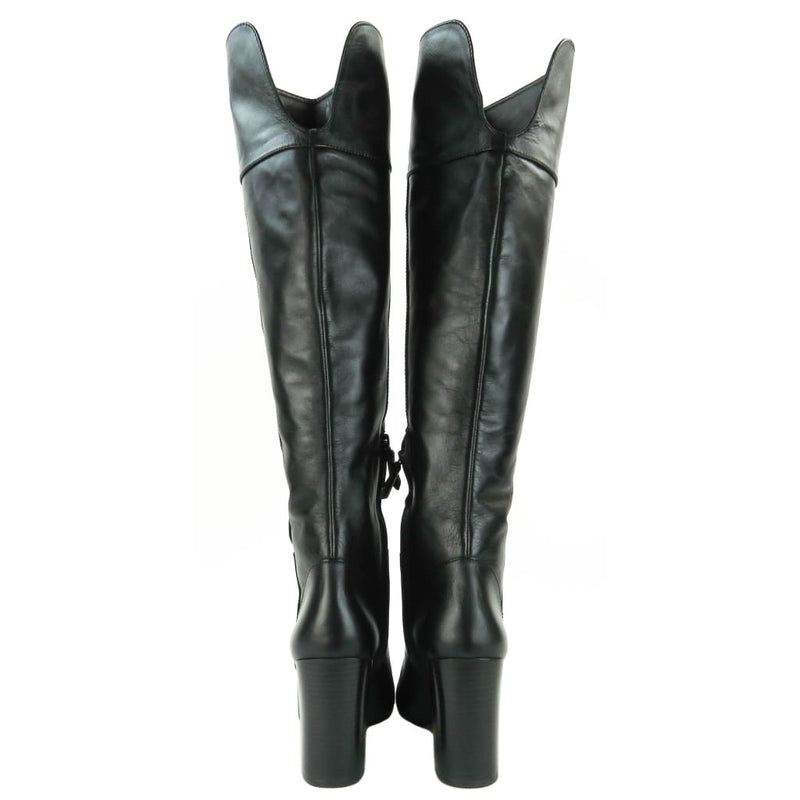 Tory Burch Black Vegan Leather Bowie Over The Knee Boots - Boots/rain Boots