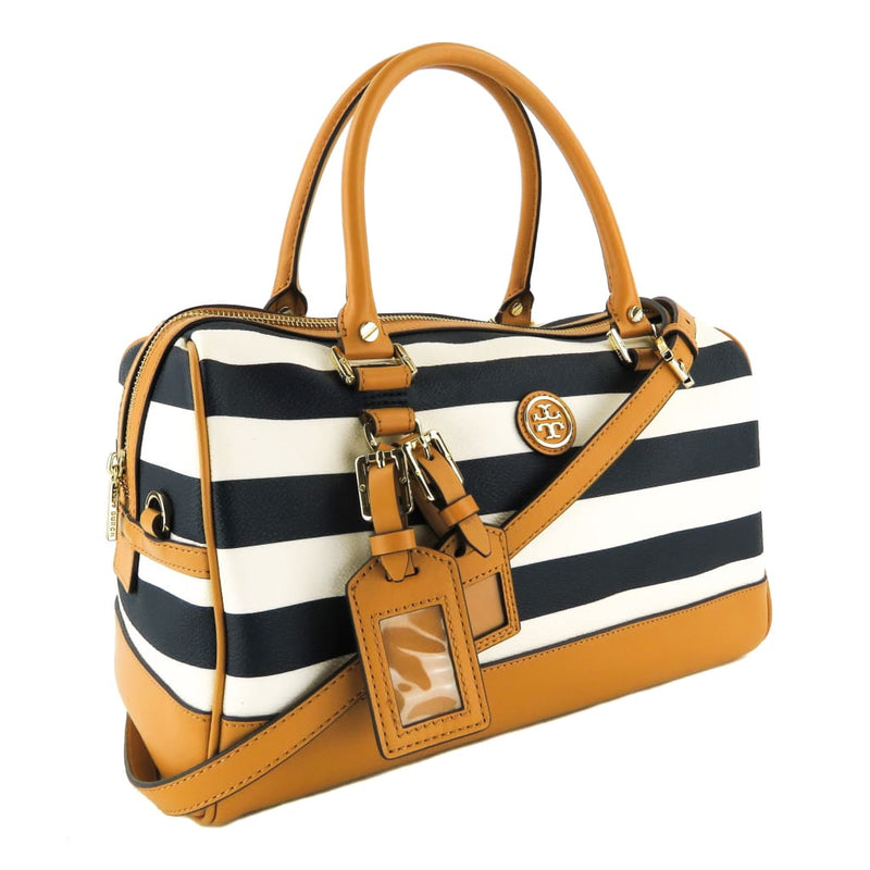 Tory Burch Blue and White Coated Canvas Striped Kerrington Satchel Bag - Satchels