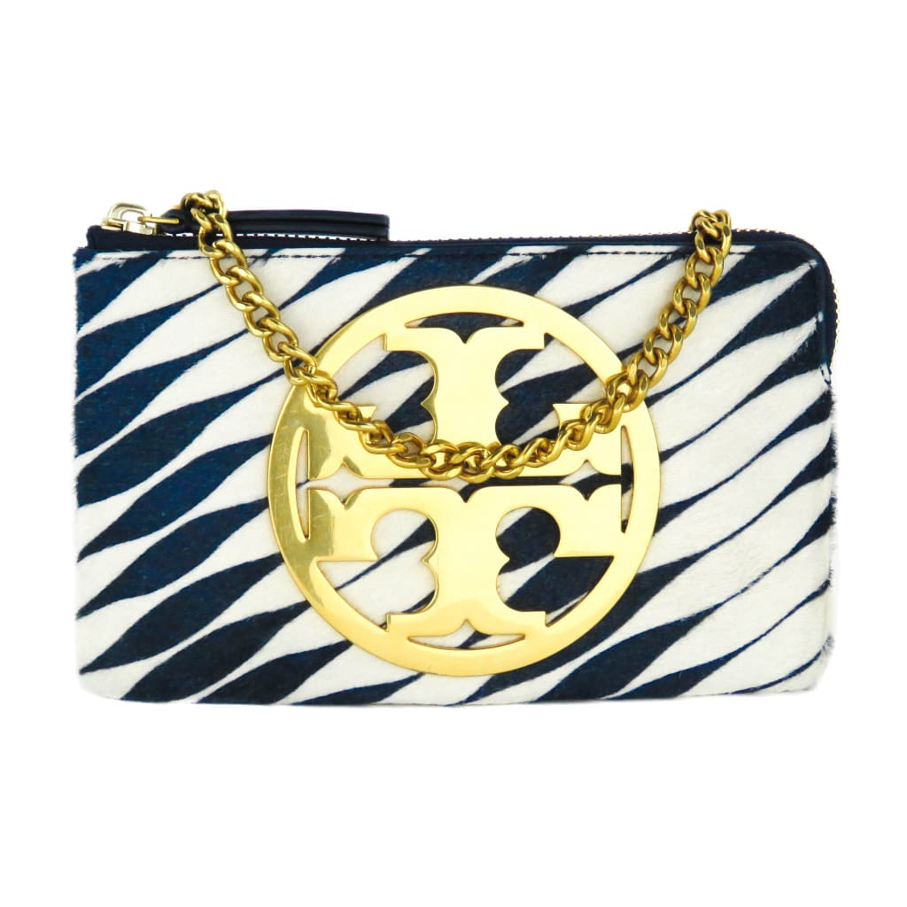 Tory Burch Blue Calf Hair Twisted Stripe Charlie Twisty Chain Clutch Bag - handbags