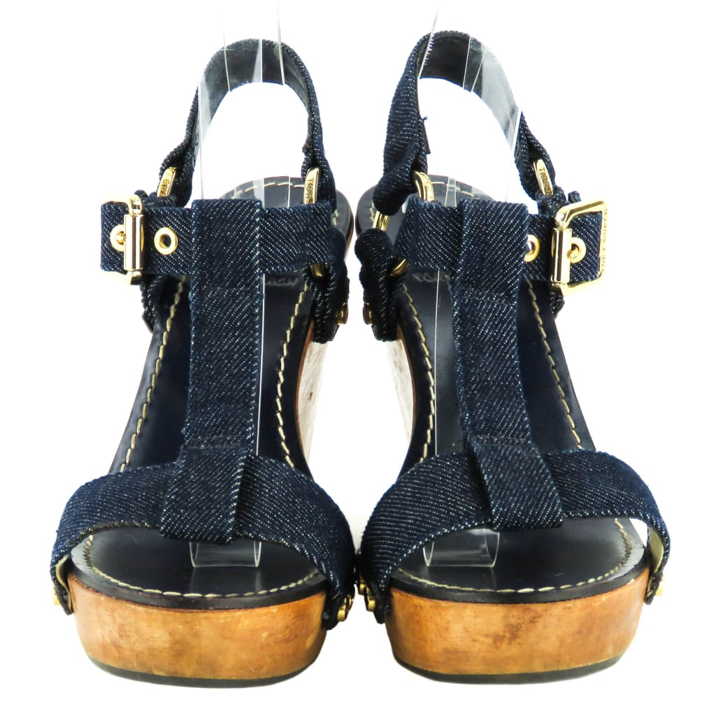 Tory Burch Blue Denim Beckett Sandal Wedges - Wedges