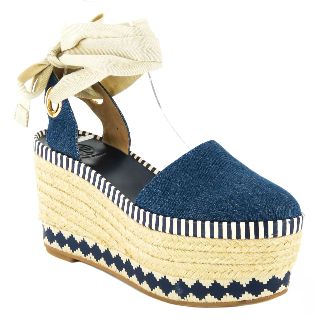 Tory Burch Blue Denim Natural Dandy Espadrille Wedges - Espadrilles