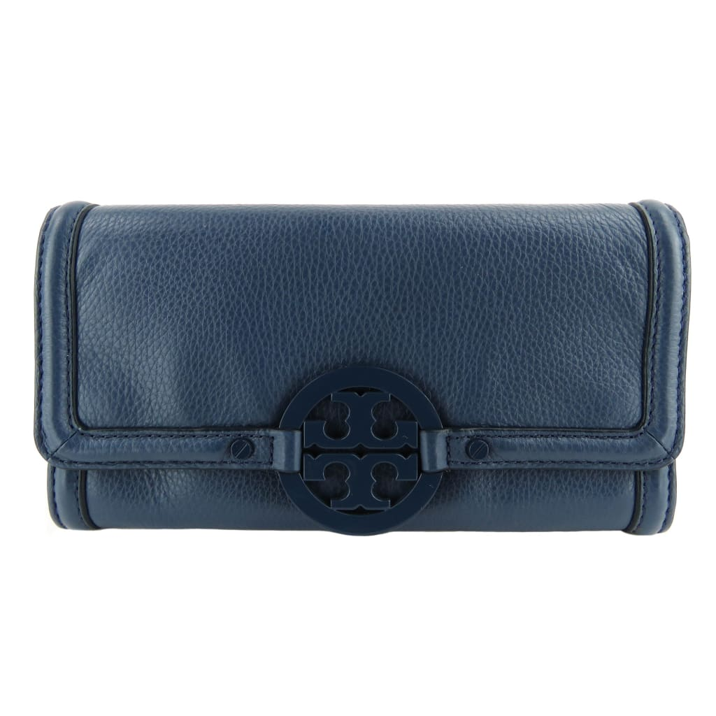 Tory Burch Blue Leather Amanda Envelope Continental Wallet - Wallet