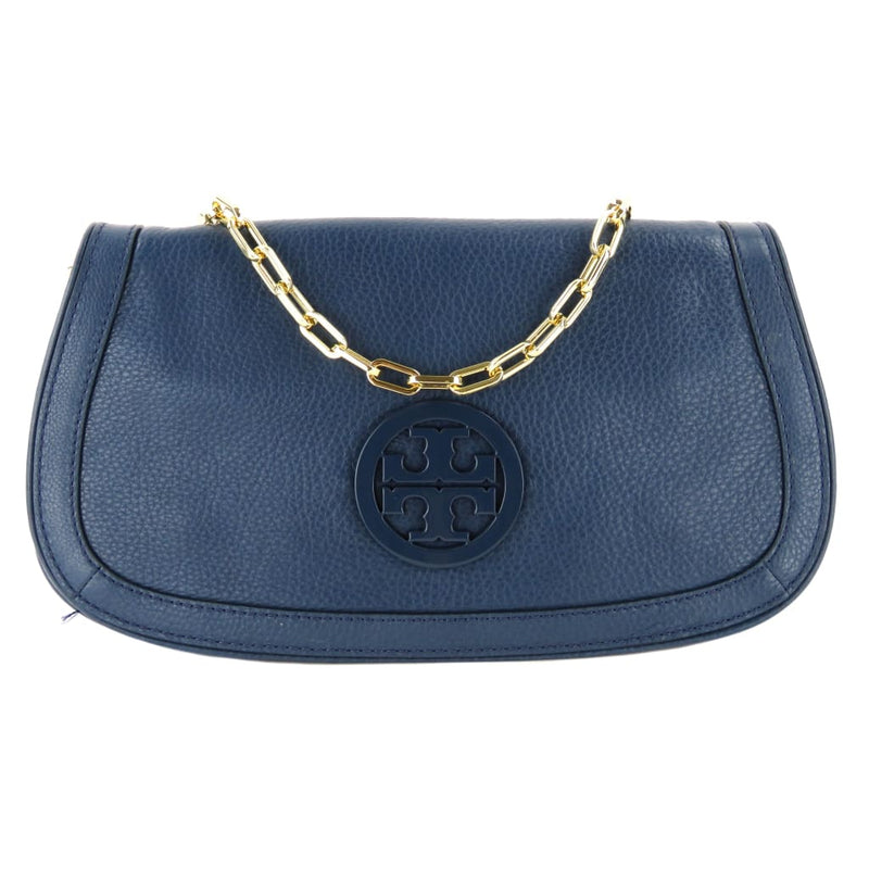 Tory Burch Blue Leather Amanda Logo Clutch Crossbody Bag - Crossbodies