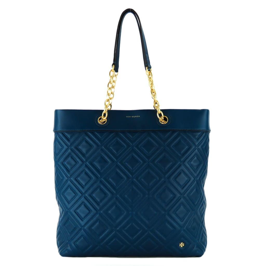 Tory Burch Blue Quilted Leather Fleming Tote Bag - Totes