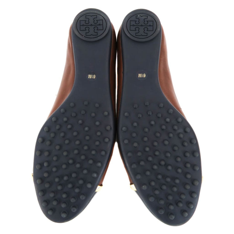 Tory Burch Brown And Black Leather Pacey Cap Toe Flats - Flats