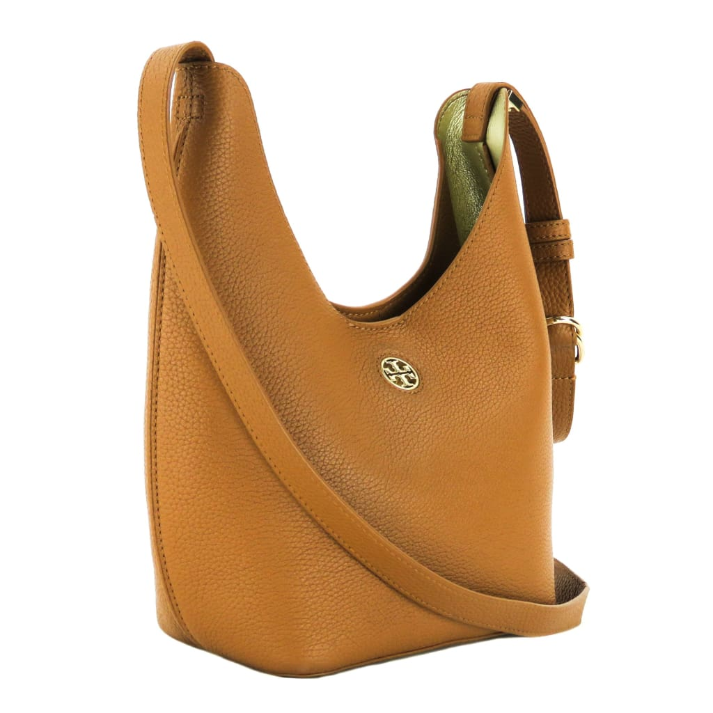 Tory Burch Brown Leather Bark Gold Small Perry Hobo Crossbody Bag - Crossbodies