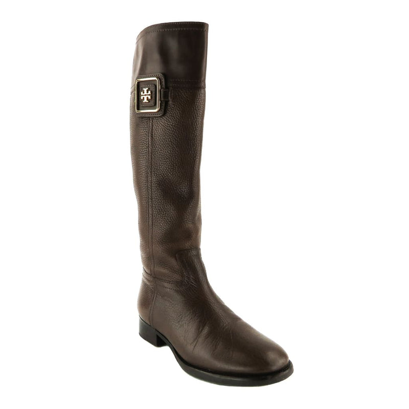 Tory Burch Brown Leather Julian Fig Riding Boots - Boots/Rain Boots