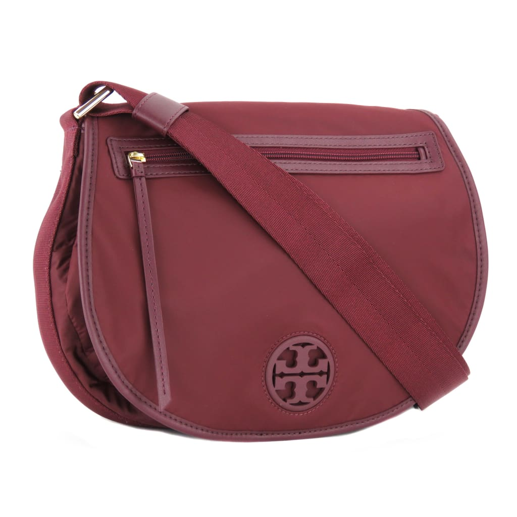 Tory Burch Burgundy Nylon Port Wine Messenger Crossbody Bag - Crossbodies