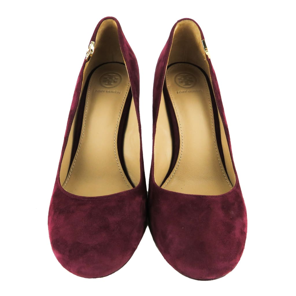 Tory Burch Burgundy Suede Elizabeth Wine Round Toe Pumps - Pumps