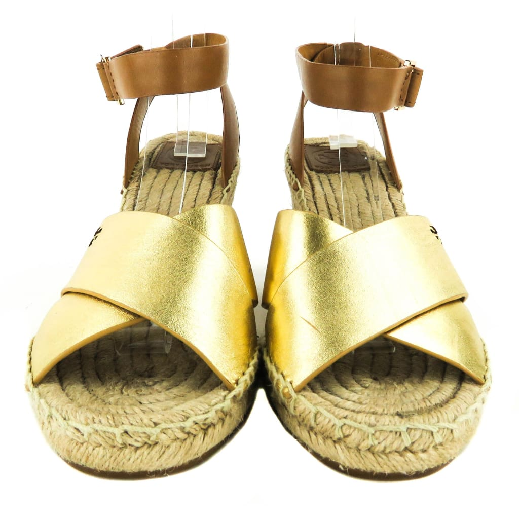 Tory Burch Gold Metallic Leather Bima Espadrille Wedges - Wedges