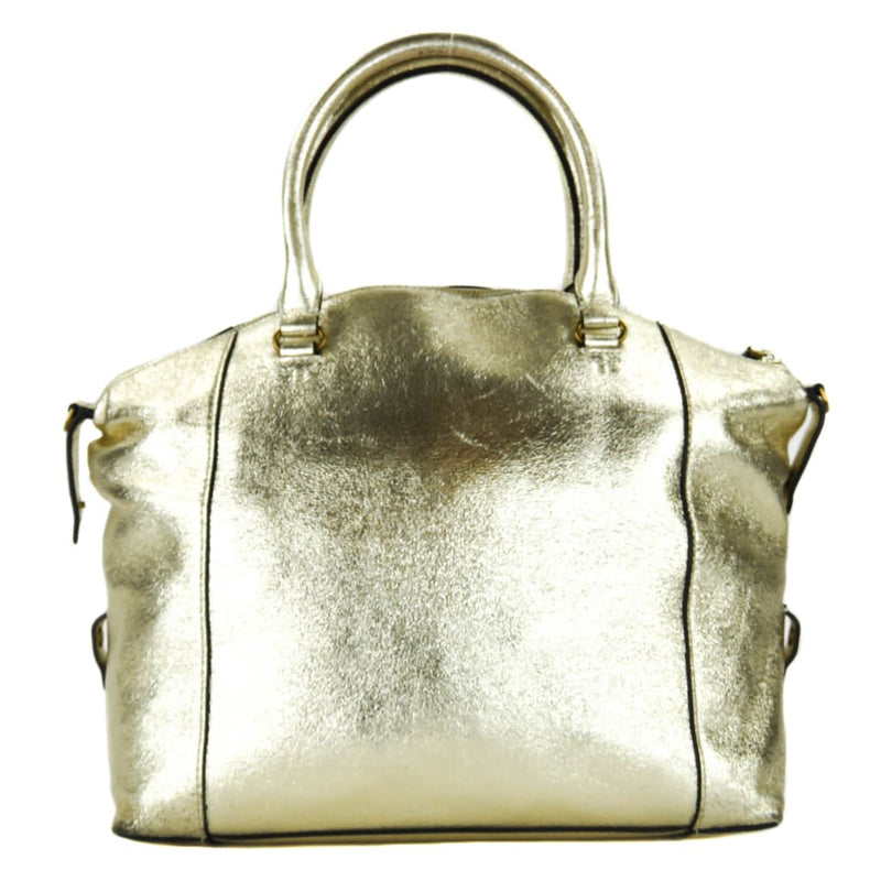 Tory Burch Gold Metallic Leather Peace Satchel Bag - Totes