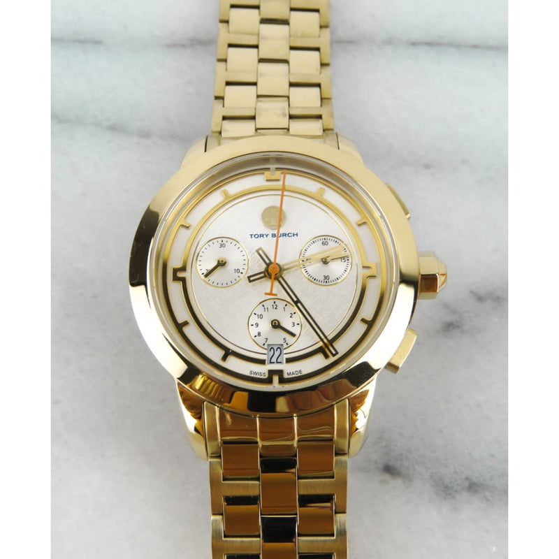 Tory Burch Gold-tone Stainless Steel Ivry Dial Chronograph Watch - Watches