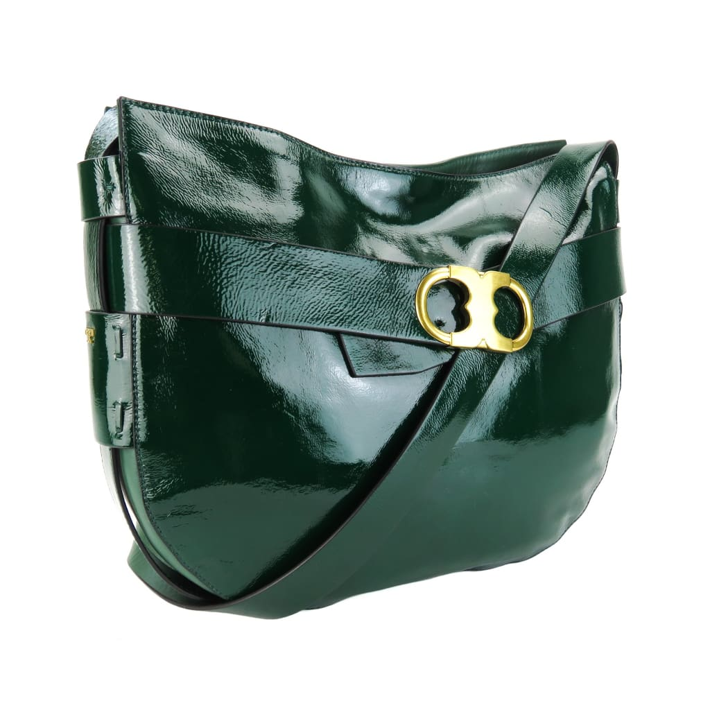 Tory Burch Green Patent Leather Gemini Link Crossbody Bag - Crossbodies