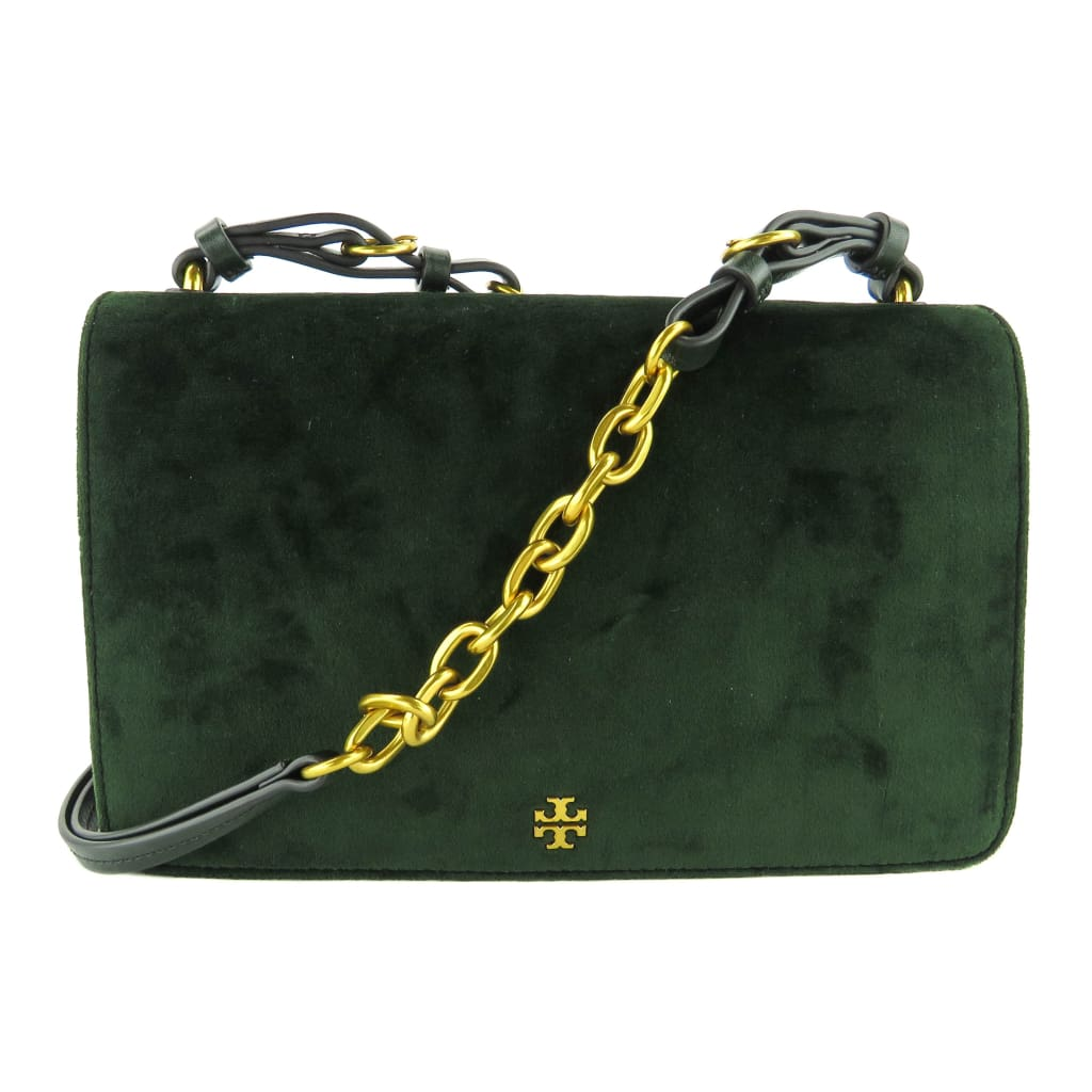 Tory Burch Green Velvet Sadie Shoulder Bag - Shoulder Bags