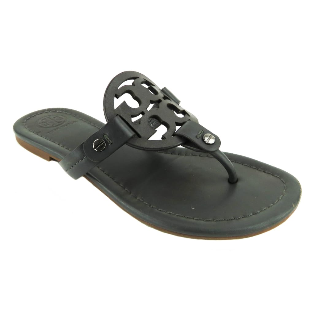 Tory Burch Grey Leather Miller Thong Sandals - Sandals
