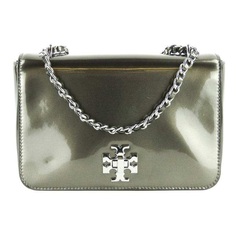 Tory Burch Grey Patent Leather Mercer Adjustable Shoulder Bag - Shoulder Bags