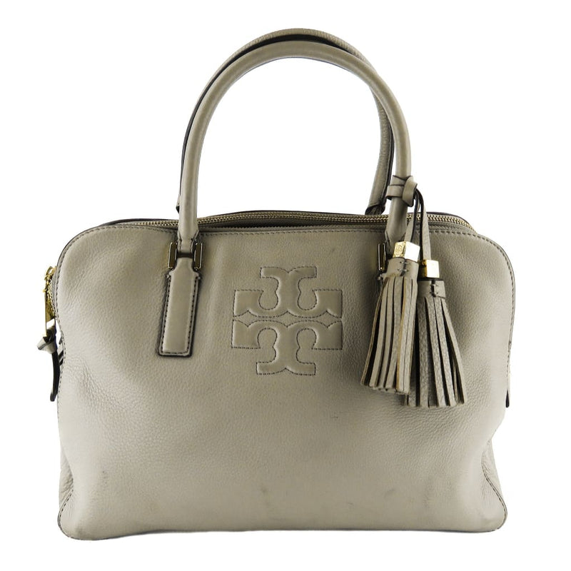 Tory Burch Grey Pebbled Leather Thea Satchel Bag - Satchels