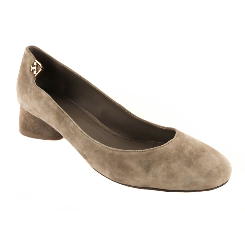 Tory Burch Grey Suede Elizabeth Round Toe Pumps - Heels