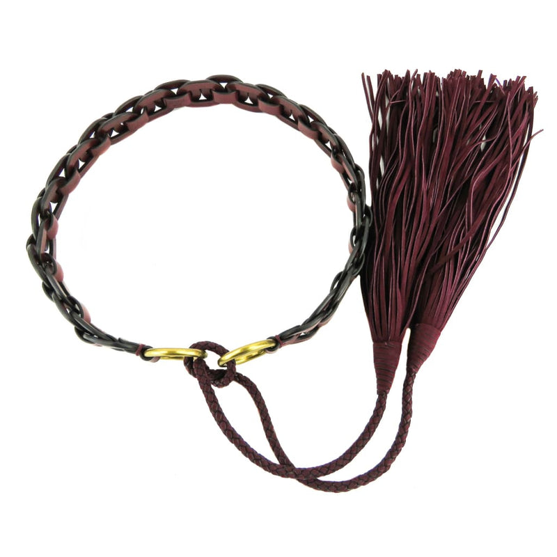 Tory Burch Maroon Leather X-Small Braided Tassle Belt - Belts